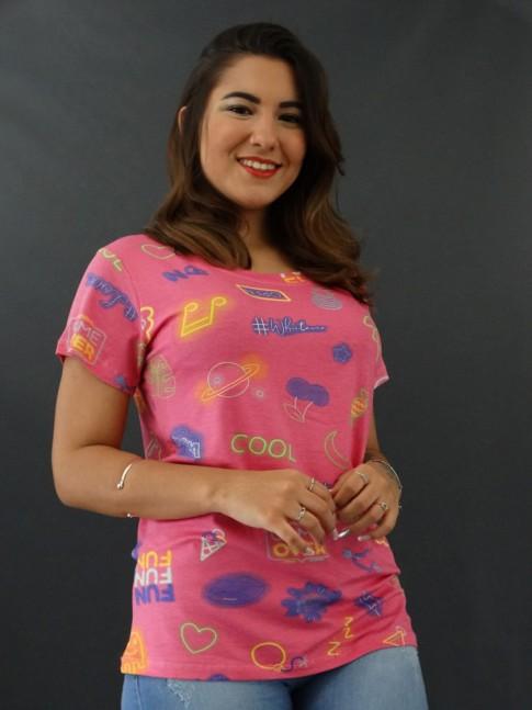 T-Shirt Estampada em Viscolycra Rosa Game Over [2012005]