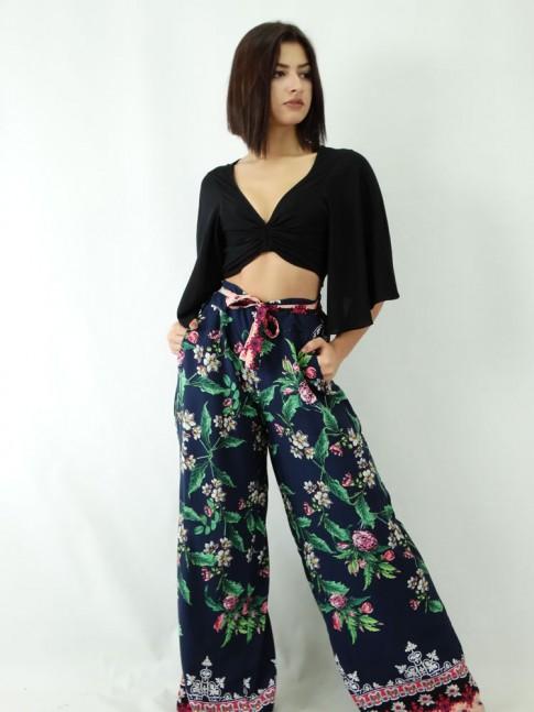 Calca Pantalona em Viscose amarracao Azul Marinho Elements e Flores