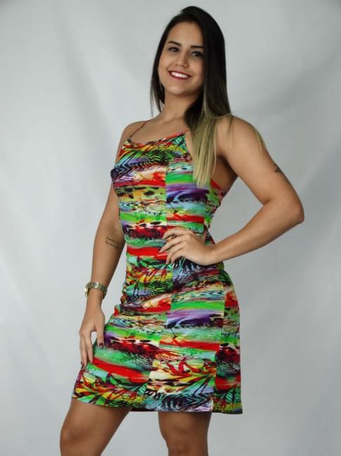 Vestido de viscose com amarração nas costas estampa reggae verde