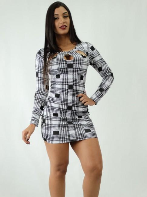 Vestido em Suplex Tubinho Manga Longa Xadrez Pied de poule