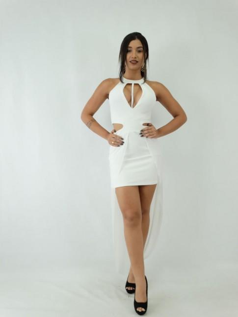 Vestido em Jacquard com Tela e Detalhe no decote Off White