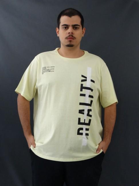 T-shirt Masculina Estampada Faixa Branca Reality Amarelo Plus Size [2010047]