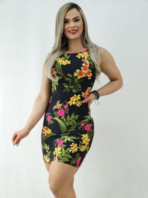 Vestido em Suplex Decote Profundo nas Costas Preto Folhas e Flores [2003062]
