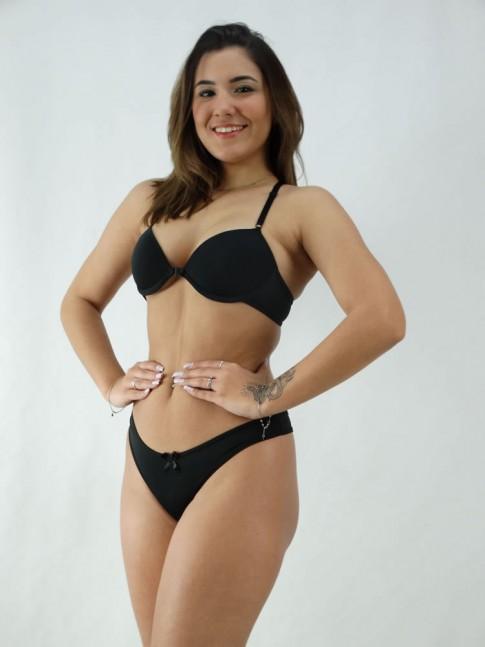 Conjunto Sutiã Nadador Liso + Calcinha Lisa Preto [2008081]