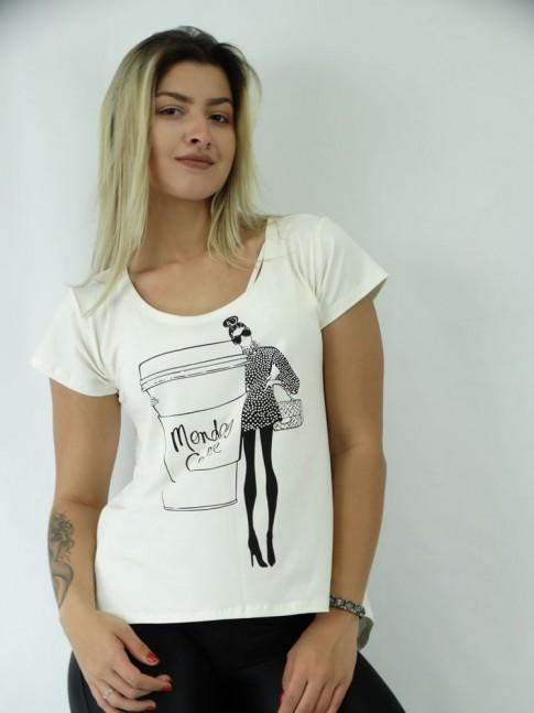 T-shirt Mullet em Viscolycra Boneca e Cafe
