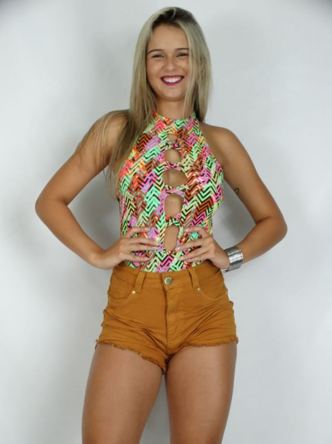 100 - Short Hot Pant com Frente Amassado Color Caramelo