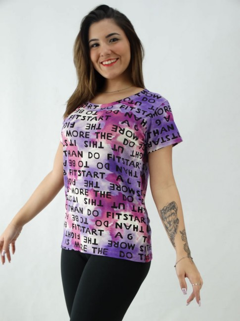 T-Shirt Estampada em Viscolycra Letras Roxo e Lilás [2008069]