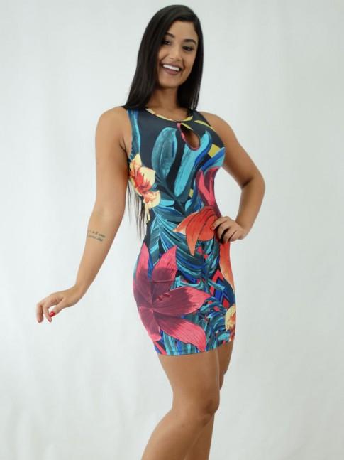 Vestido em Suplex Decote Gota Preto Flores Colors [1812053]