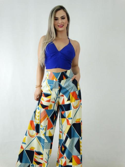 Calça Pantalona em Viscose com Pala e Elástico Amarelo Geométrico Colors [1909208]