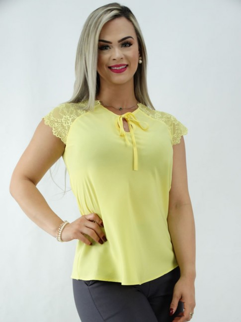 Blusa em Viscose Detalhe Gota Manda com Renda Amarelo [2001042]