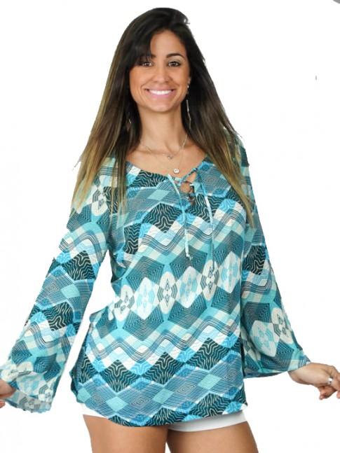 Blusa tecido viscose com decote estampa étnica verde