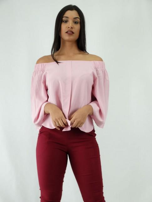 Blusa em Viscose Modelo Ciganinha Manga Flare Rosa Claro