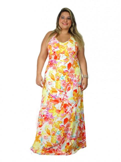 Vestido de viscose longo com duas alças cruzadas plus size estampa floral hot