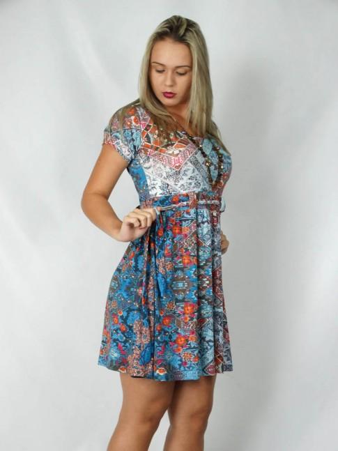 308-Vestido com faixa e manguinha estampa étnica azul
