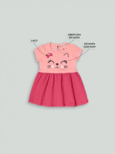 Vestido Infantil em Cotton Lycra Estampa Gata Rosa [2008200]