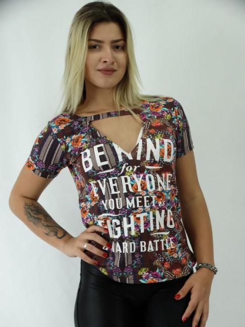 T-shirt Viscolycra Recorte V Every Color