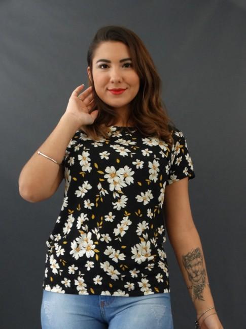 T-shirt Estampada em Viscolycra Preto Flores Brancas [2012013]