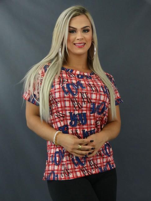 Blusa T-shirt Estampada em Viscolycra Quadriculado Vermelho Love [2103121]