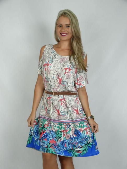 308 - Vestido em Visco Lycra com Recorte no Ombro  Estampa Flores e folhas Azul
