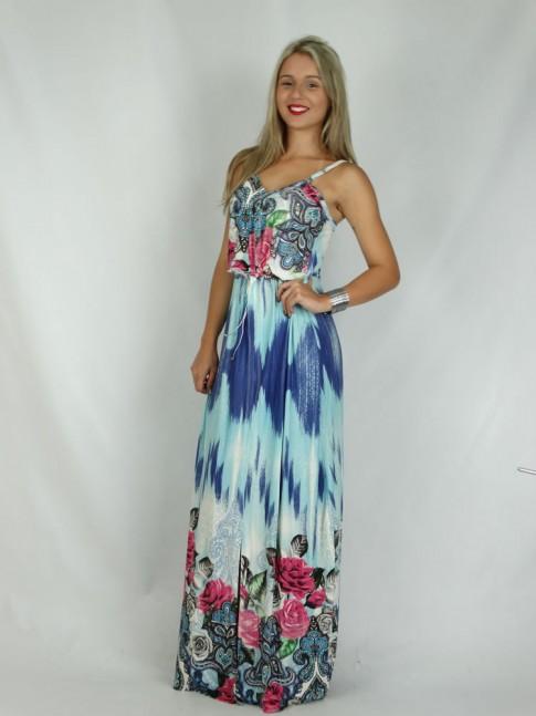 308- Vestido Floral Azul com tie dye