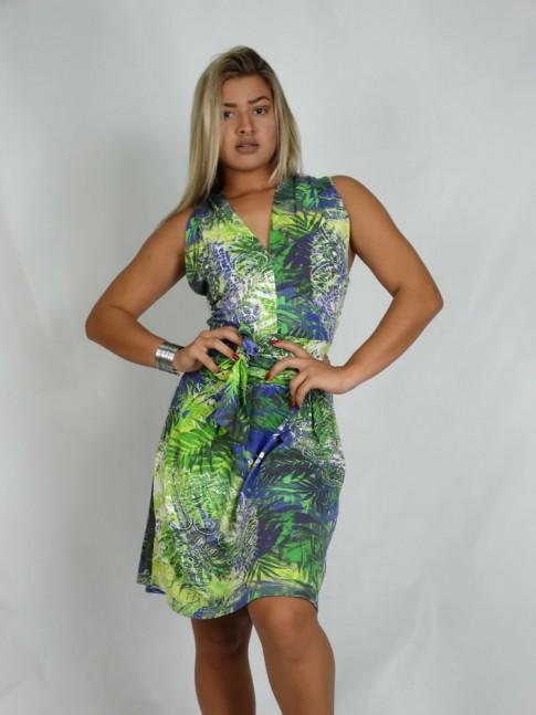 308 - Vestido em Viscolycra Decote em V com Faixa