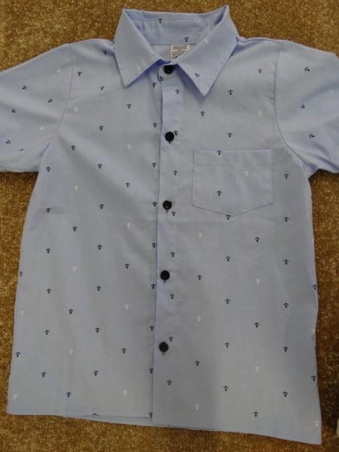 Camisa Infantil Com Botões em Tecido Azul Ancoras [1901266]