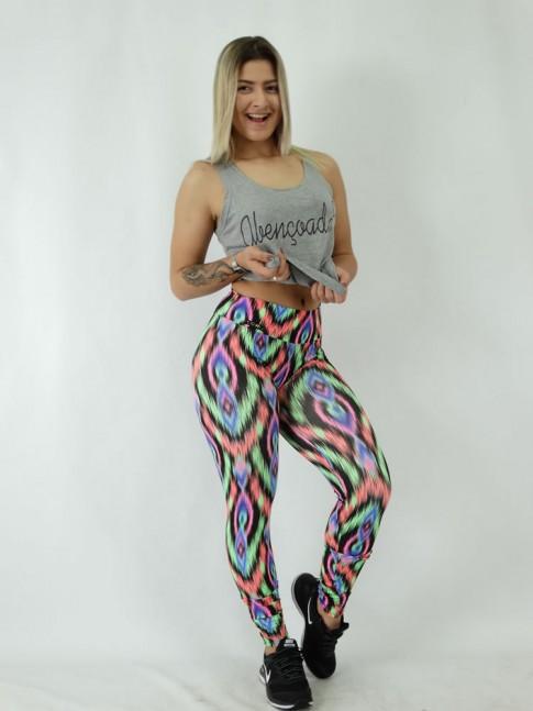 Calça Legging em Suplex Pixação Colors