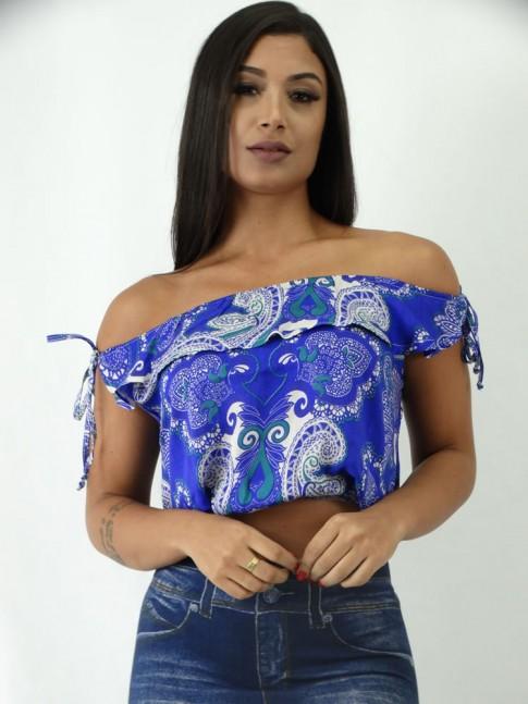 Blusa em Viscose Ciganinha com Amarração Azul Etnico [1903031]