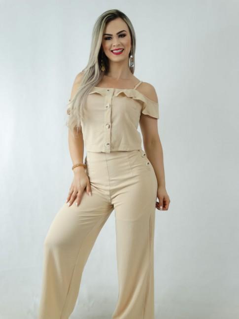 Conjunto em Crepe Calça Pantalona e Blusa Cropped com Botões Bege [1909323]