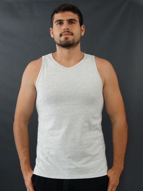 Camiseta Masculina Regata Basic Cinza Claro [2010044]