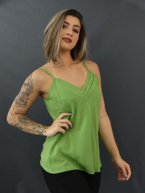 Blusa de Alça Decote V com Detalhes em Viscose Verde Abacate [2010085]
