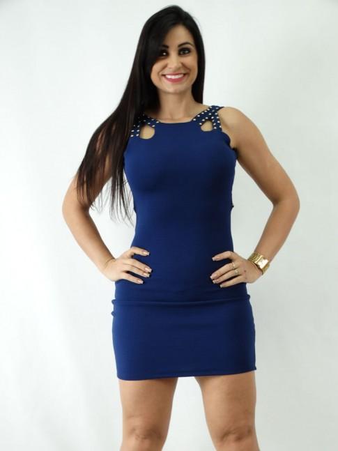 Vestido em Jacquard Recorte na lateral do Decote com Tachas Azul Marinho