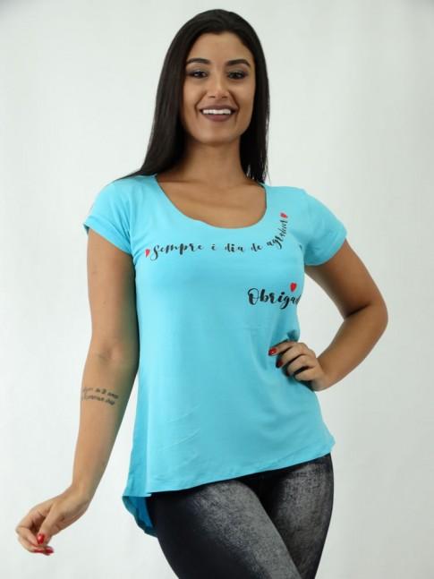 T-shirt em Viscolycra Estilo Mullet Azul Sempre e Dia [1812078]