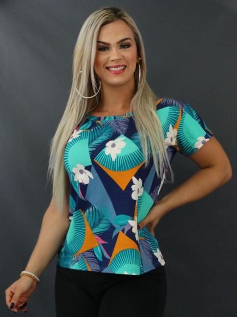 Blusa T-shirt Estampada em Viscolycra Azul e Verde Geométrico Folhas [2103143]