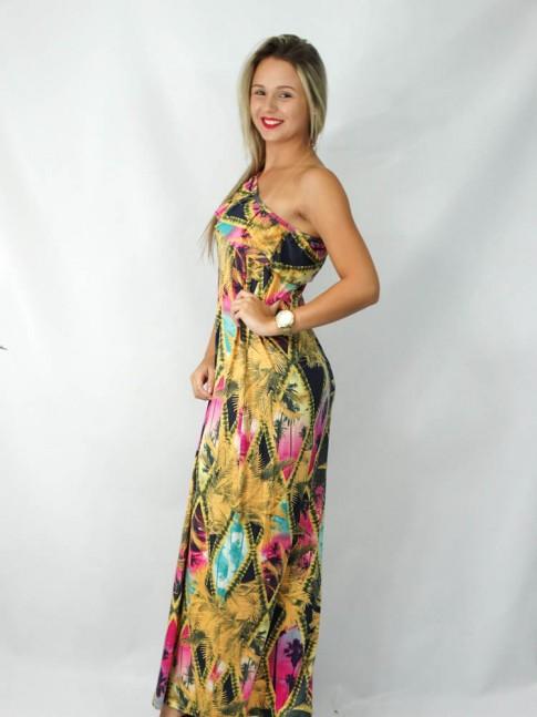 Vestido longo um ombro só com babado estampa tropical color