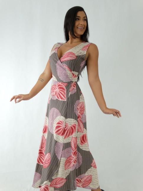 Vestido em Viscose Envelope Transpassado de Alça Larga Bege Folhas Rose [1912091]