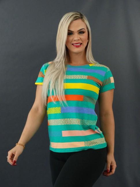 T-shirt Estampada em Viscolycra Verde Listras Colors Poá [2101016]