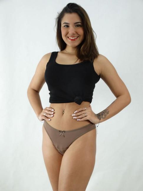 Calcinha Lisa com Renda Microfibra Chocolate [2008131]